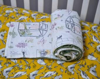 Birds and Garden Baby Bedding Set, Gardening Baby Blanket, Yellow Bird Fitted Crib Sheet, Nature Themed Nursery, Gardening Nursery
