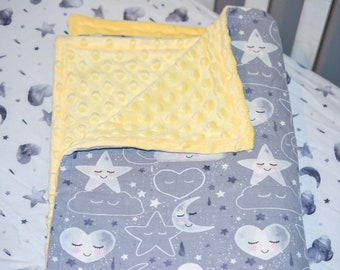 Yellow and Gray Celestial Baby Bedding Set, Stars and Moons Baby Bedding, Fitted Crib Sheet, Moon Baby Blanket, Star Baby Blanket