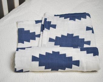 Navy Aztec Swaddle Blanket, Geometric Swaddle Blanket, Navy and White Muslin Swaddle, Southwest Baby Bedding, Aztec Baby Blanket, Unisex