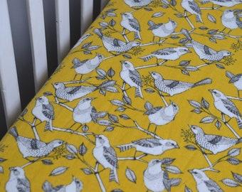Yellow Birds Fitted Crib Sheet, Gender Neutral Crib Sheet, Bird Baby Bedding, Nature Inspired Nursery, Flannel Fitted Crib Sheet, Bird Decor