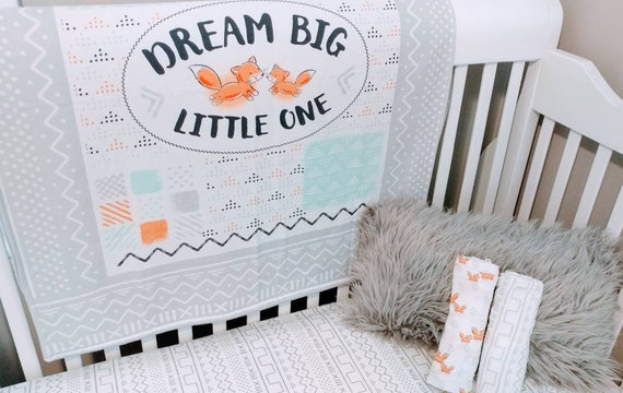 Faux Chenille BlanketPlaymat Fox Dream Big Little One themed