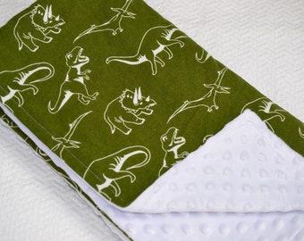 Olive Green Glow in the Dark Dinosaur Blanket, Dinosaur Baby Blanket, Dark Green Dinosaur Blanket, Dinosaur Baby Bedding, Dinosaur Nursery