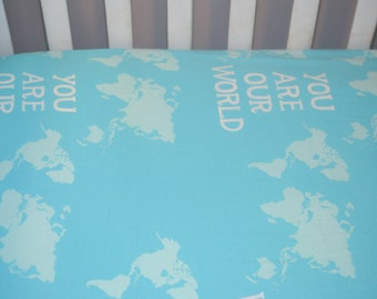 World Map Baby Crib Sheet, Map Fitted Crib Sheet, You Are Our World, Globe Baby Bedding, Travel Themed Nursery, Blue World Map Bedding