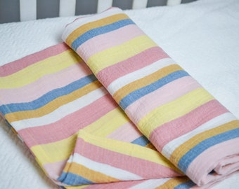 Striped Nautical Swaddle Blanket, Multicolor Striped Swaddle, Rainbow Swaddle Blanket, Oversized Swaddle, Muslin Swaddle Blanket