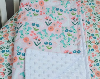Pink Floral Bunny Baby Blanket, Bunny Rabbit Blanket, Bunnies and Flowers, Floral Baby Bedding, Floral Nursery Bedding, Bunny Rabbit Nursery