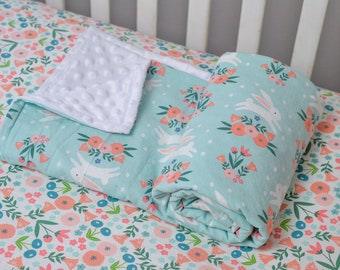 Light Blue Bunny Baby Blanket, Floral Bunny Rabbit Blanket, Jumping Bunny Baby Blanket, Bunnies and Flowers, Bunny Nursery Bedding