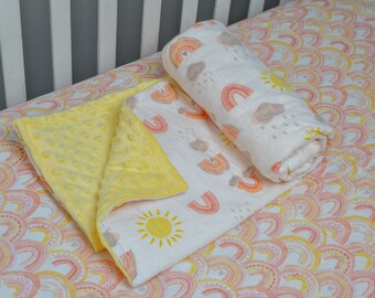 Coral Rainbow Baby Bedding Set, Pink and Yellow Rainbows, Rainbow Baby Blanket, Sunshine Baby Blanket, Fitted Crib Sheet, Cloud Baby Blanket
