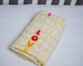 Yellow Alphabet Swaddle Blanket, I Love You Swaddle Blanket, Rainbow Letters, Rainbow Nursery, Gender Neutral Swaddle Blanket