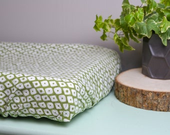 Olive Green Geometric Changing Pad Cover, Flannel Changing Pad Cover, Diamond Changing Pad Cover, Baby Changing Pad, Gender Neutral