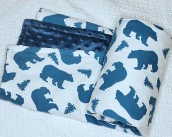 Navy Blue Polar Bear Blanket, Forest Baby Blanket, Rustic Forest Baby Bedding, Pine Tree Blanket, Blue Bear Baby Blanket, Navy Minky Blanket