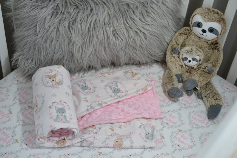 Floral Baby Bedding Set Baby Girl Crib Bedding Pink and Gray Woodland Baby Bedding Set Fitted Crib Sheet Blanket Set Forest Baby Bedding