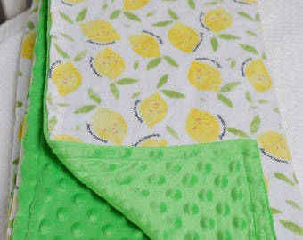 Lemon Baby Blanket, Squeeze the Day, Lemon Drop Blanket, Yellow and Green Lemon Blanket, Lime Green Minky, Fruit Baby Blanket, Lemon Nursery