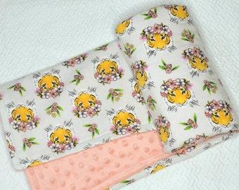 Floral Tiger Baby Blanket, Coral Pink Baby Blanket, Minky Baby Blanket, Jungle Nursery Bedding, Pink Tiger Blanket, Safari Baby Bedding