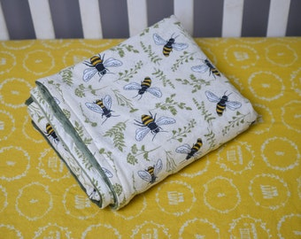 Bumble Bee Crib Bedding Set, Yellow Bee Fitted Crib Sheet, Bumble Bee Blanket, Olive Green Minky, Garden Nursery Bedding, Botanical Bedding