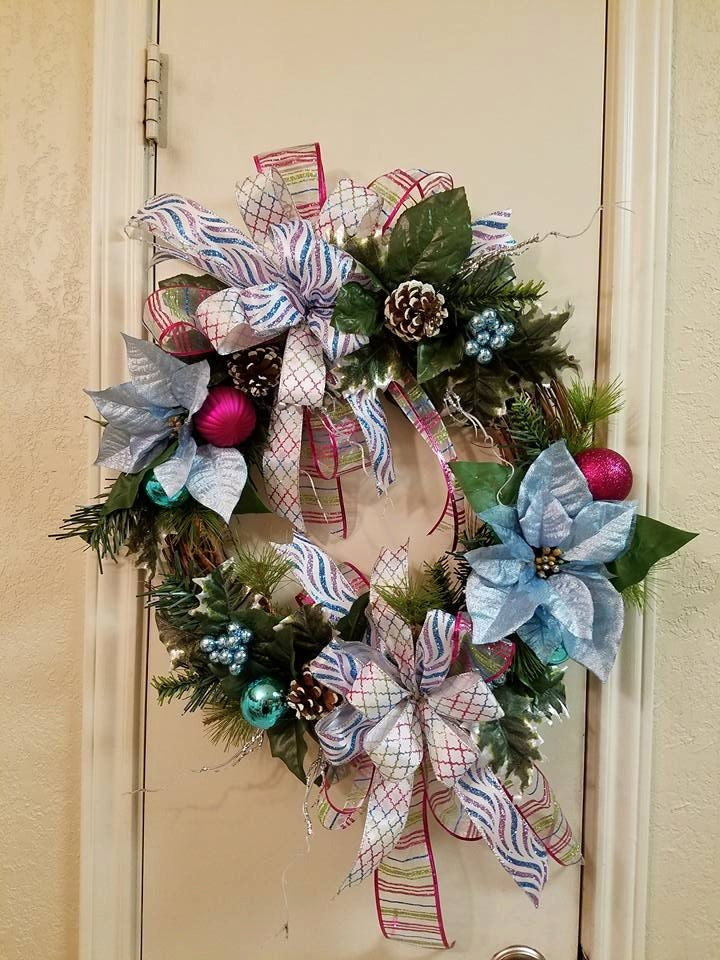 blue poinsetta grapevine wreath blue and pink chistmas wreath grapevine wreath frosty blue christmas wreath christmas decor - Frosty Blue Christmas Decorations