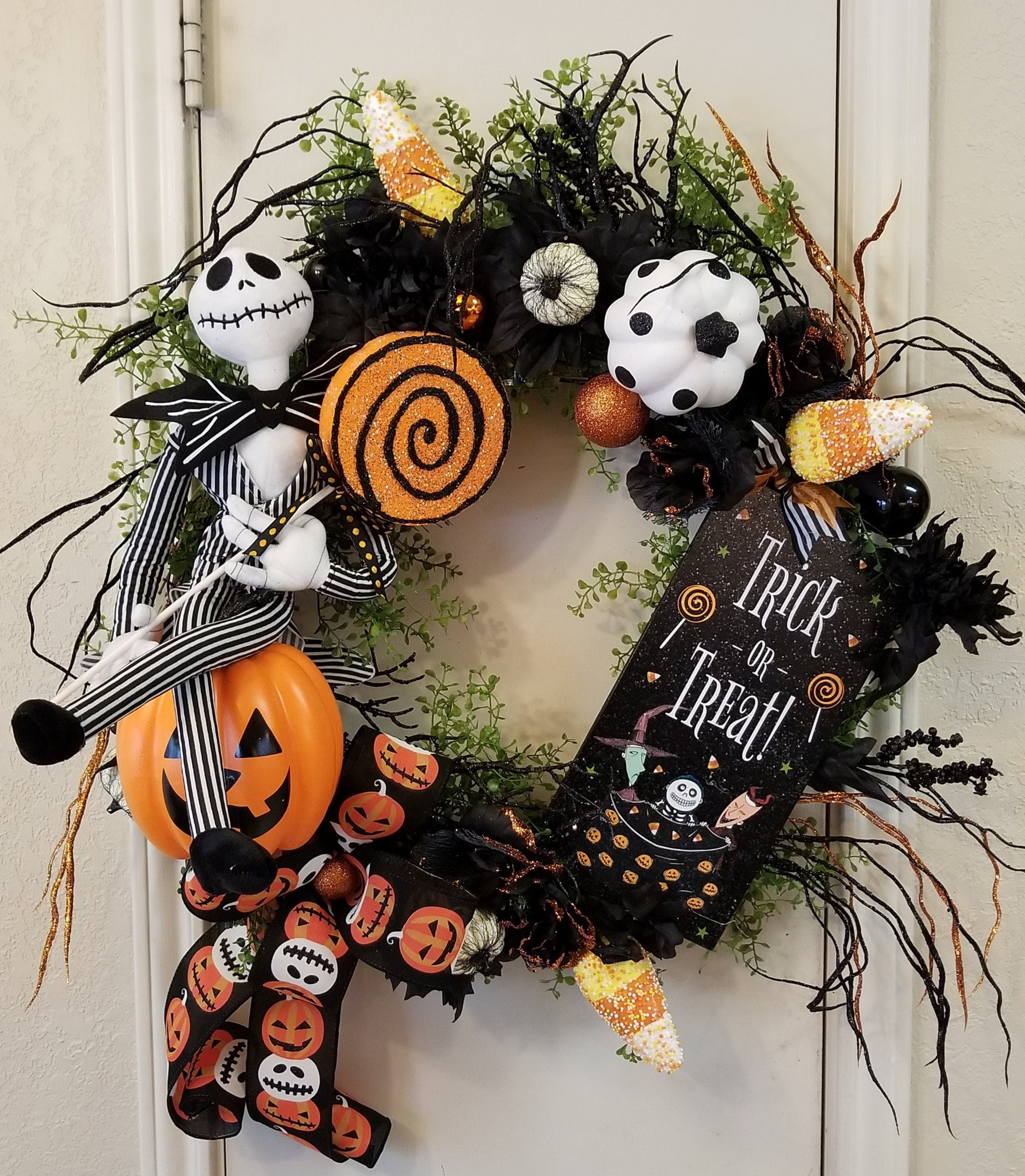 Jack Skellington Wreath, Jack The Pumpkin King Halloween Wreath ...