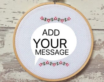 """5"""" Custom Cross Stitch Hoop Personalised Wall Art - Personalised Embroidery Gift - Floral Wreath Embroidery Hoop - Home Decor Gift -"""