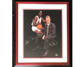 Michael Jordan & Larry Bird Signed 16x20 Framed/Matted Photo UDA 65/123