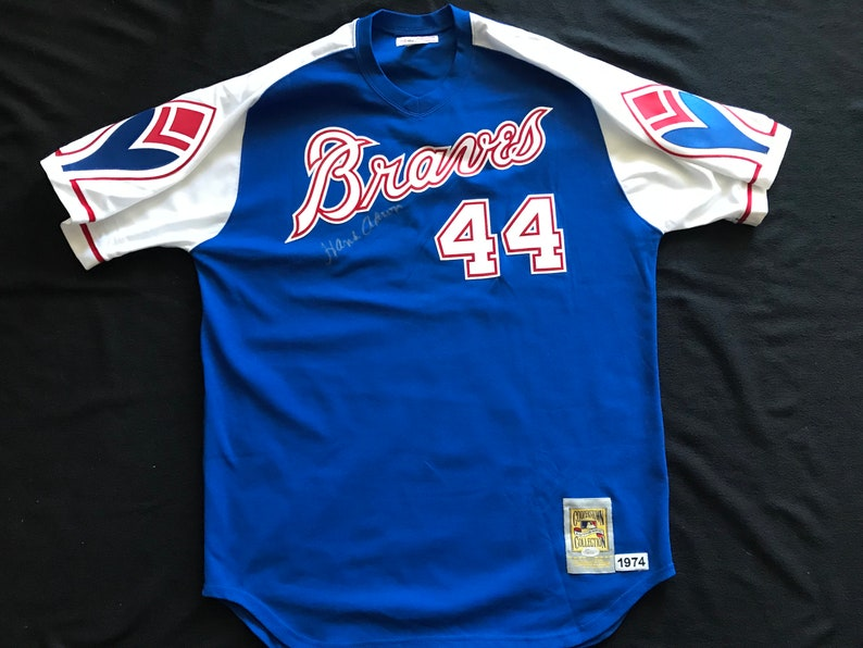 b185ea415 Hank Aaron Signed 1974 Atlanta Braves Cooperstown Collection | Etsy
