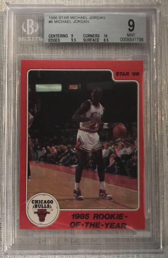1986 Star Michael Jordan 1985 Rookie Of The Year Card 6 Bgs 9