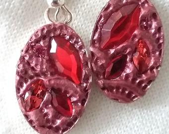 Bling, Romance, Ruby Red, Mosaic Earrings, EA-25