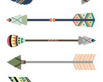Tribal Themed Nursery - Tribal Arrows Print - Tribal Nursery - Wild and Free - Printable Nursery Art