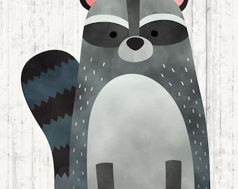Woodland Creatures Wall Art - Raccoon Print - Woodland Creatures - Wild and Free