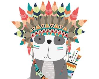 Tribal Animal Nursery Decor - Adventure Awaits - Panda Bear Print - Panda Bear Nursery Print