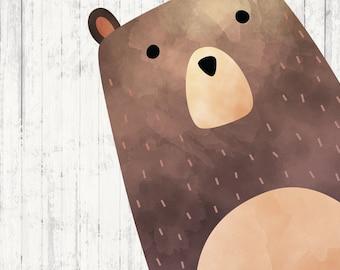 Woodland Nursery Wall Art - Bear Print - Woodland Nursery - Printable Art