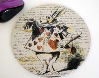 White Rabbit Alice in Wonderland - Mouse Pad - Mousepad - Alice in Wonderland Mouse Pad - Alice in Wonderland Gift Idea - Art for the office