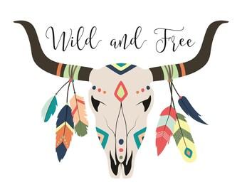 Printable Tribal Skull with feathers - wild and free - Tribal Nursery Decor - Aztec Nursery