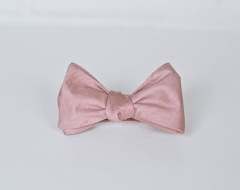 c637c35f9bc4 Dusty Pink Raw Silk Self Tie Bow Ties