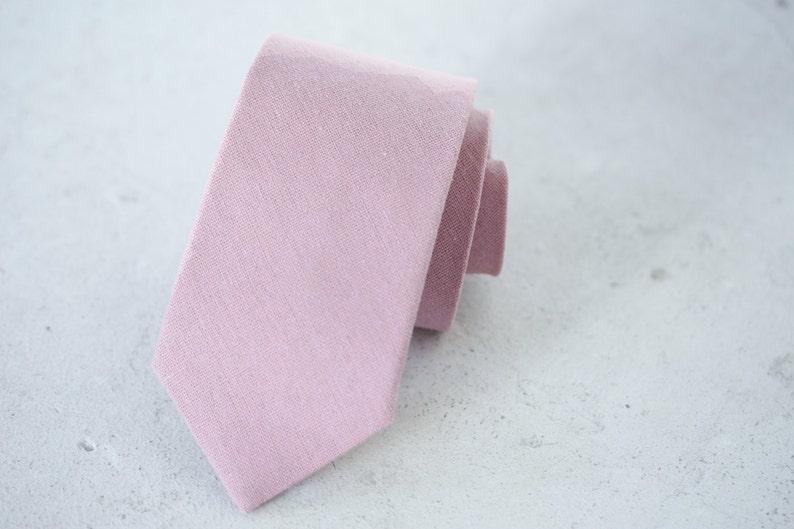 897989bbfe61 Dusty Rose Linen Skinny Tie | Etsy