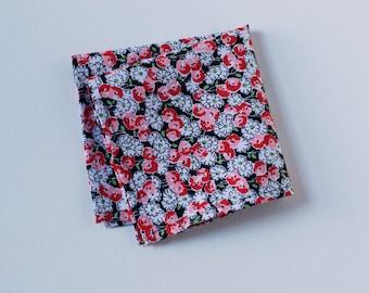 Poppy Floral Pocket Square