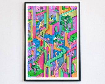 Disoriented Planet - Giclée Print A4, A3, A2   Dreamland   Psychedelic Art   Illusion   Whimsical Art   Quirky Gift   Infinity   Escher