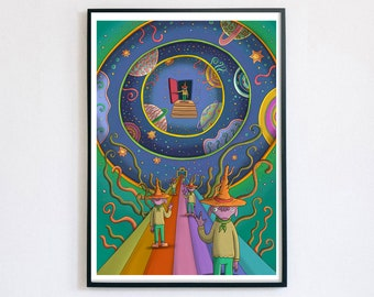 Where do we go From Here - Giclée Print A4, A3, A2   Psychedelic Art   Trippy   Whimsical Art   Quirky Gift   Galaxy Art   Dreamscape
