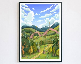 Juniper Ruins - Giclée Print A4, A3, A2   Dreamland   Psychedelic Art   Landscape art   Whimsical Art   Quirky Gift   adventure time