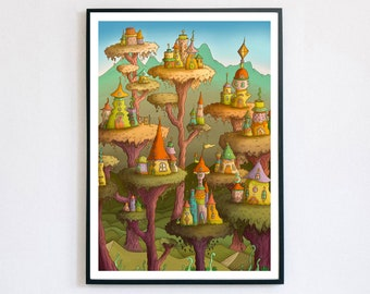 Another Noon - Giclée Print A4, A3, A2   Dreamland   Psychedelic Art   Illusion   Whimsical Art   Quirky Gift   Infinity   Sunset Art