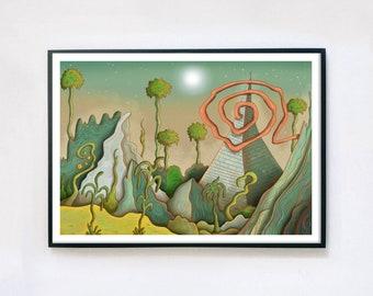 Midsummer Solstice - Giclée Print A4, A3, A2   Psychedelic Print   Voodoo Land   Fairytale   Trippy Folk Art   Arcadia   Garden of Eden