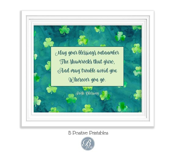 Irish Blessing Printable Quote Print Home Decor Wall Art Decor Poster May Your Blessings Script Calligraphy St Patrick Wedding Print