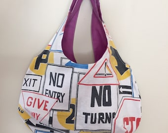 Handmade Shoulder Bag, 80's, street sign, vintage sheet, refashioned, handsewn.