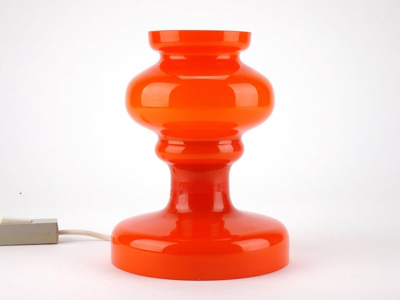 Mid Century Bohemian Space age Vintage Orange Glass Table Lamp MCM Czech glass