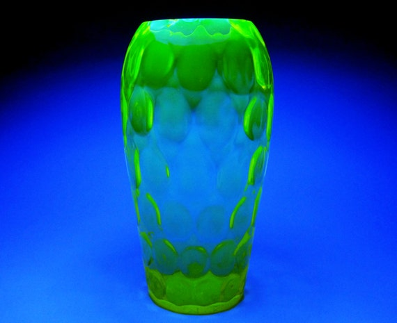 Rare Uranium Glass Vase From The Borske Sklo Glassworks Etsy