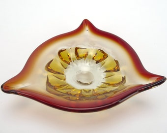 Vintage Murano red glass dish - Italian art glass plate cased in orange amber glass with a red glass rim - Retro home decor piece