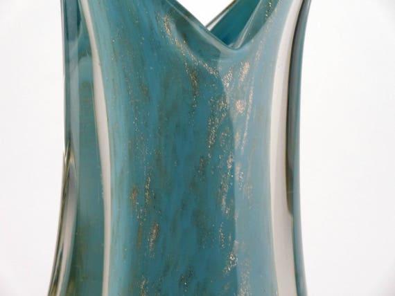 Duck Egg Blue Sculptural Cased Sommerso Glass Vase Murano Etsy