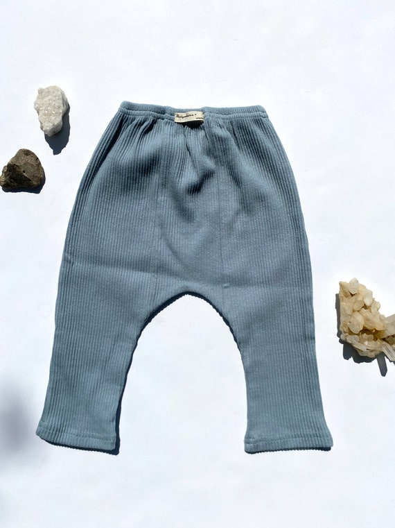 Hand dyed gender neutral sky blue ribbed cotton jogger gypsy hippie boho baby pants leggings-12-18M