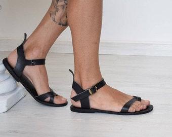 Les hommes Flip Flops, sandales à la main, noir sandales, sandales hommes, sandales d'été, sandales en cuir grec, sandales, cuir véritable, sandales grecques