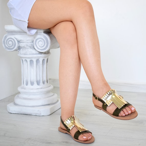 Women Sandals Natural Pink Gold Color Genuine Leather Gift For Women High Quality Sparta Sandals Handmade Sandals Ancient Greek