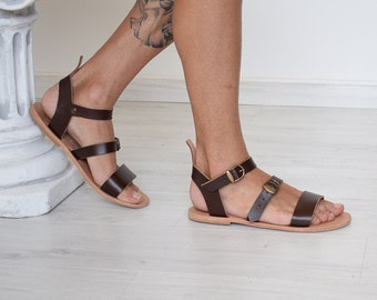 Fathers day, Fathers gift, Dads gift, Gift for dad, Gift for father, Gift for him, Men Sandals, Leather Sandals, Brown Color, Greek Sandals