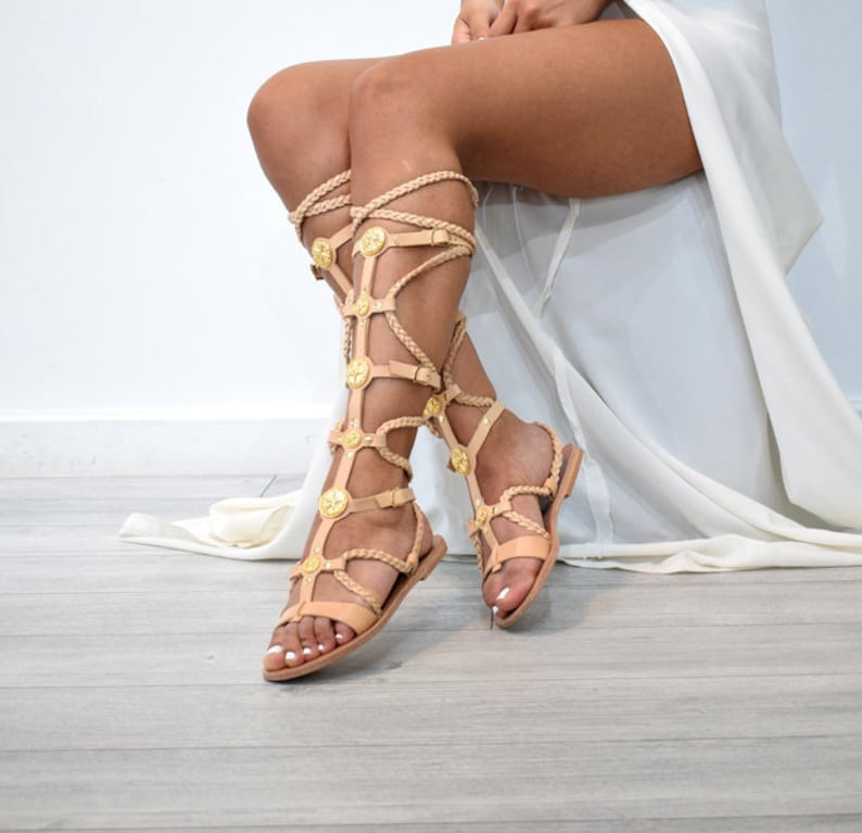 c97501f20 Ancient Greek leather sandals Lace up sandals Gold sandals